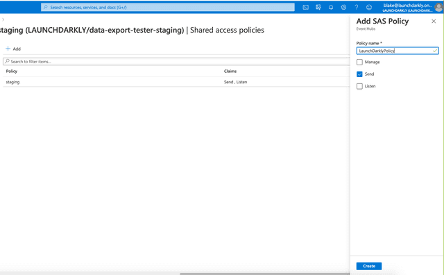 A new policy with the Send permission enabled, configured in Azure Event Hub